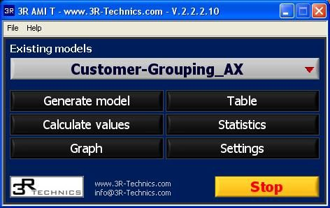 3R AMI T sofware – forming of classes (groups) from data – main menu